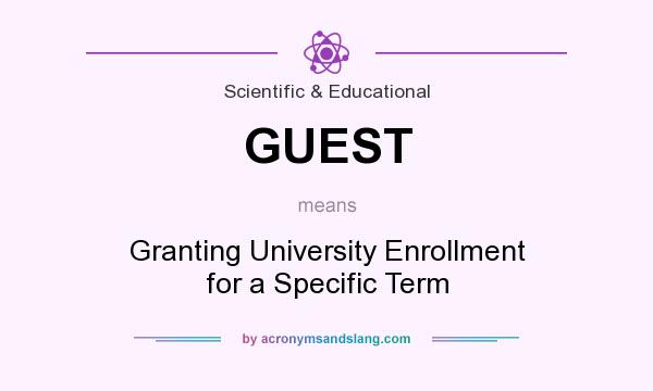 What does GUEST mean? It stands for Granting University Enrollment for a Specific Term