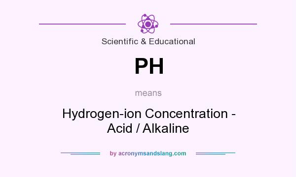 What does PH mean? It stands for Hydrogen-ion Concentration - Acid / Alkaline