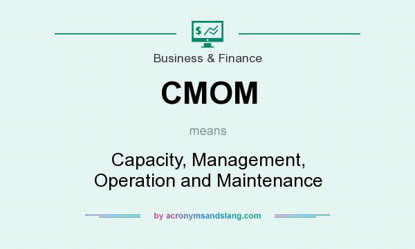 What does CMOM mean? It stands for Capacity, Management, Operation and Maintenance