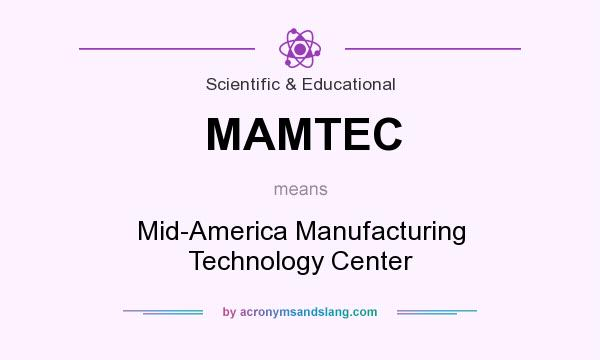 What does MAMTEC mean? It stands for Mid-America Manufacturing Technology Center