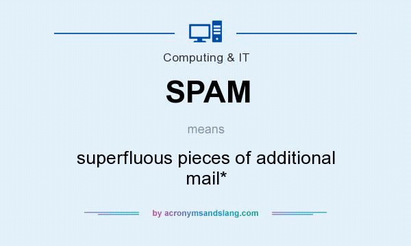 What does SPAM mean? It stands for superfluous pieces of additional mail*