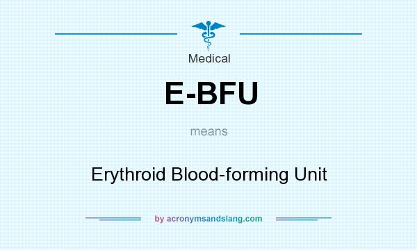 What does E-BFU mean? It stands for Erythroid Blood-forming Unit