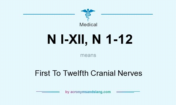 What does N I-XII, N 1-12 mean? It stands for First To Twelfth Cranial Nerves