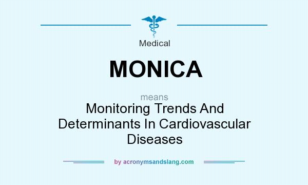 What does MONICA mean? It stands for Monitoring Trends And Determinants In Cardiovascular Diseases
