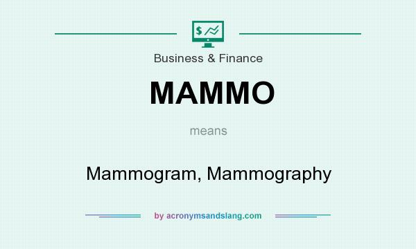 What does MAMMO mean? It stands for Mammogram, Mammography