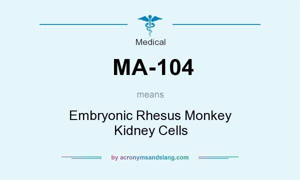 What does MA-104 mean? It stands for Embryonic Rhesus Monkey Kidney Cells