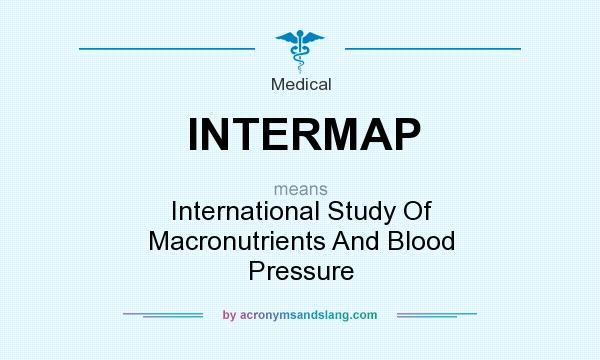 What does INTERMAP mean? It stands for International Study Of Macronutrients And Blood Pressure