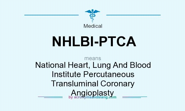 What does NHLBI-PTCA mean? It stands for National Heart, Lung And Blood Institute Percutaneous Transluminal Coronary Angioplasty