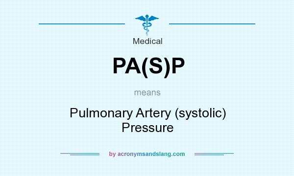 What does PA(S)P mean? It stands for Pulmonary Artery (systolic) Pressure