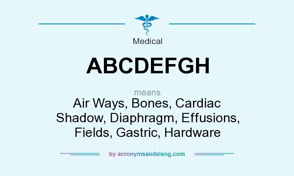 What does ABCDEFGH mean? It stands for Air Ways, Bones, Cardiac Shadow, Diaphragm, Effusions, Fields, Gastric, Hardware