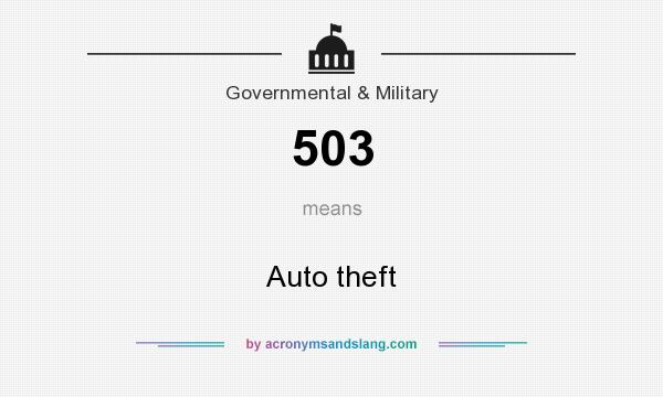 What does 503 mean? It stands for Auto theft