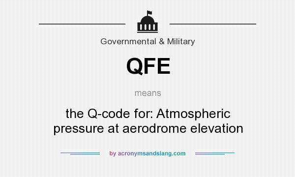 What does QFE mean? It stands for the Q-code for: Atmospheric pressure at aerodrome elevation