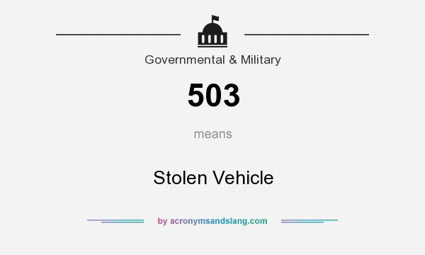What does 503 mean? It stands for Stolen Vehicle