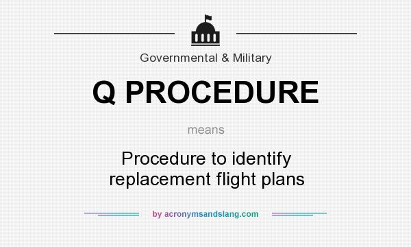 What does Q PROCEDURE mean? It stands for Procedure to identify replacement flight plans