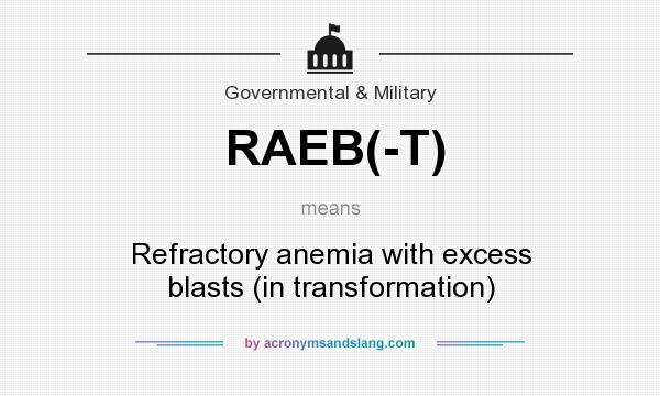 What does RAEB(-T) mean? It stands for Refractory anemia with excess blasts (in transformation)