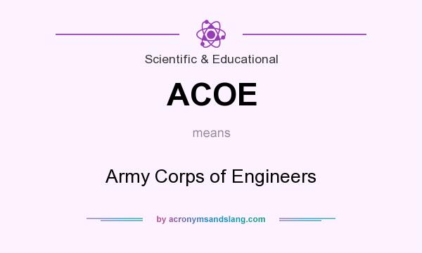What does ACOE mean? It stands for Army Corps of Engineers
