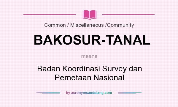 What does BAKOSUR-TANAL mean? It stands for Badan Koordinasi Survey dan Pemetaan Nasional
