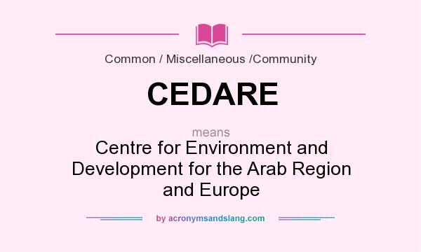 What does CEDARE mean? It stands for Centre for Environment and Development for the Arab Region and Europe