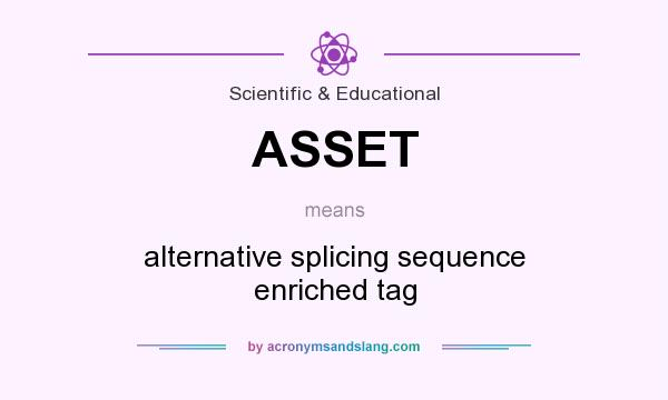 What does ASSET mean? It stands for alternative splicing sequence enriched tag