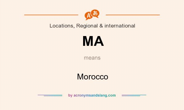 What does MA mean? It stands for Morocco