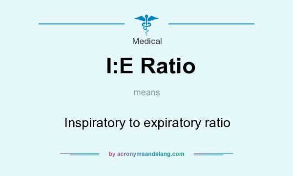 What does I:E Ratio mean? It stands for Inspiratory to expiratory ratio