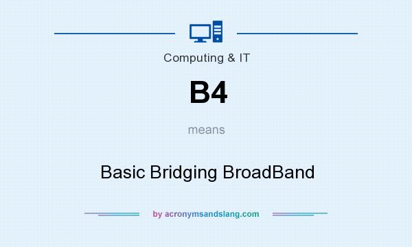 What does B4 mean? It stands for Basic Bridging BroadBand