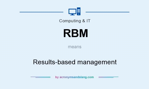 What does RBM mean? It stands for Results-based management