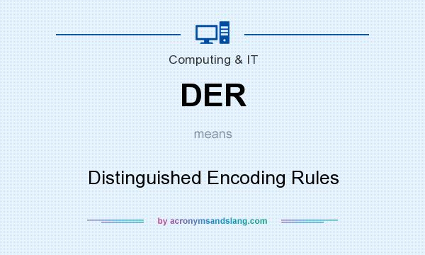 What does DER mean? It stands for Distinguished Encoding Rules