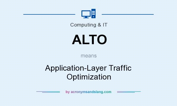 What does ALTO mean? It stands for Application-Layer Traffic Optimization