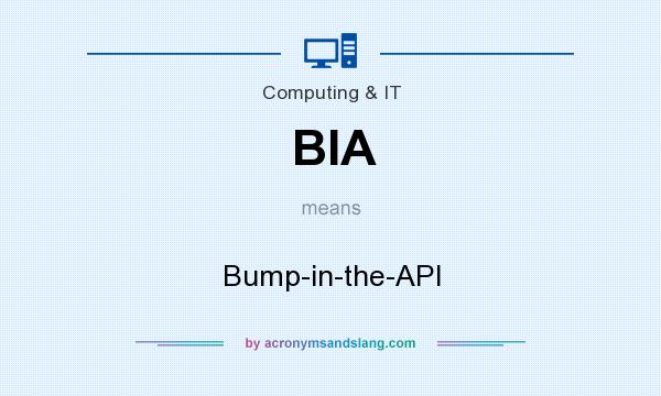 What does BIA mean? It stands for Bump-in-the-API