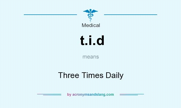 What does t.i.d mean? It stands for Three Times Daily