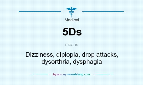 What does 5Ds mean? It stands for Dizziness, diplopia, drop attacks, dysorthria, dysphagia