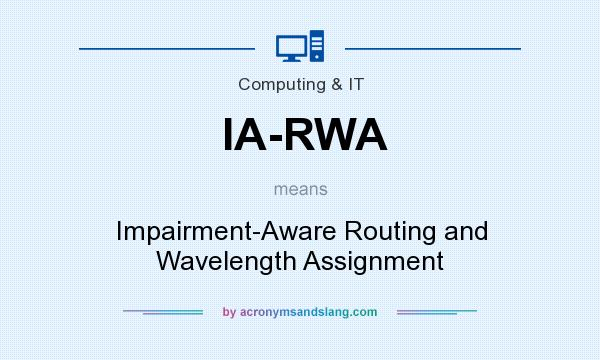 What does IA-RWA mean? It stands for Impairment-Aware Routing and Wavelength Assignment
