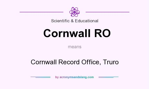 What does Cornwall RO mean? It stands for Cornwall Record Office, Truro
