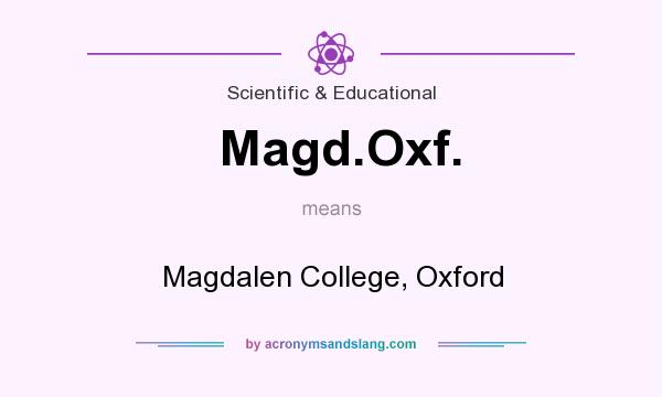 What does Magd.Oxf. mean? It stands for Magdalen College, Oxford