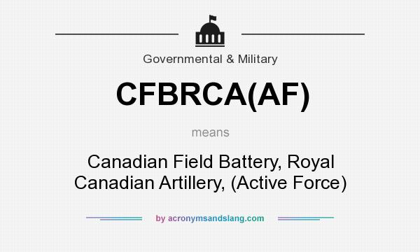What does CFBRCA(AF) mean? It stands for Canadian Field Battery, Royal Canadian Artillery, (Active Force)