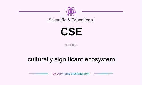 What does CSE mean? It stands for culturally significant ecosystem