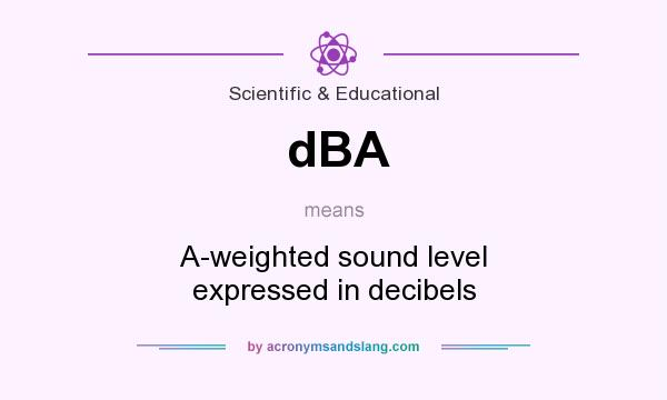 What does dBA mean? It stands for A-weighted sound level expressed in decibels