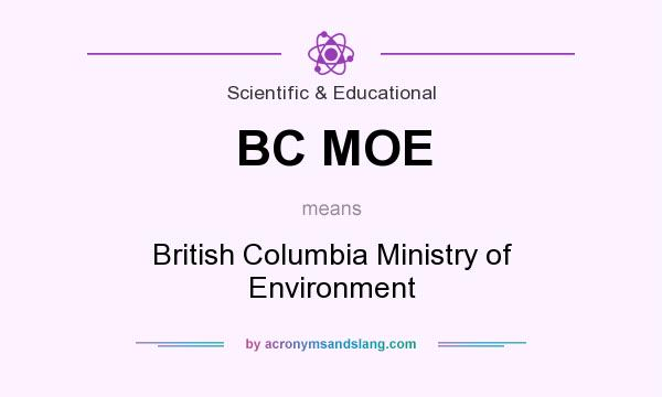 What does BC MOE mean? It stands for British Columbia Ministry of Environment