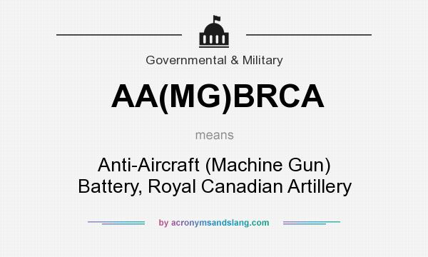 What does AA(MG)BRCA mean? It stands for Anti-Aircraft (Machine Gun) Battery, Royal Canadian Artillery