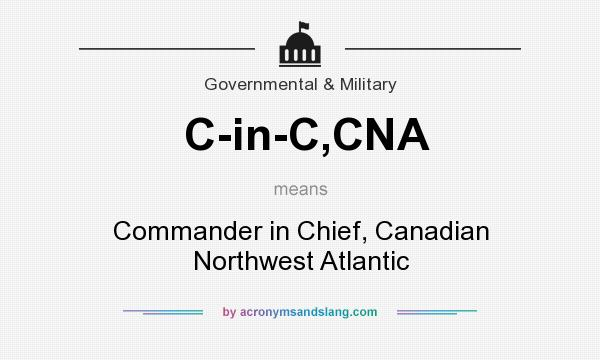 What does C-in-C,CNA mean? It stands for Commander in Chief, Canadian Northwest Atlantic
