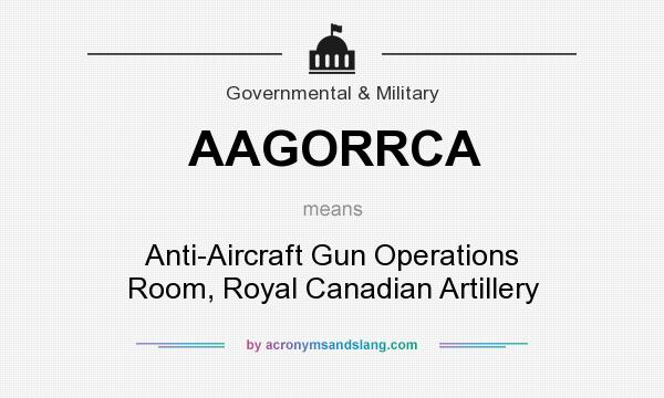 What does AAGORRCA mean? It stands for Anti-Aircraft Gun Operations Room, Royal Canadian Artillery