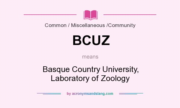 What does BCUZ mean? It stands for Basque Country University, Laboratory of Zoology