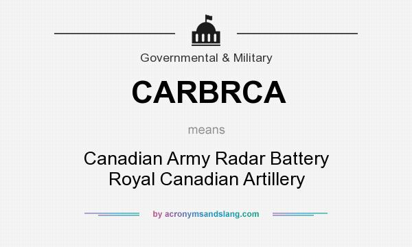 What does CARBRCA mean? It stands for Canadian Army Radar Battery Royal Canadian Artillery