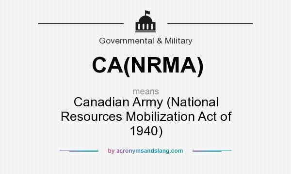 What does CA(NRMA) mean? It stands for Canadian Army (National Resources Mobilization Act of 1940)