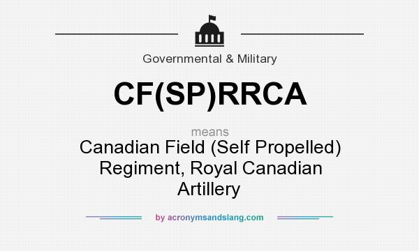 What does CF(SP)RRCA mean? It stands for Canadian Field (Self Propelled) Regiment, Royal Canadian Artillery