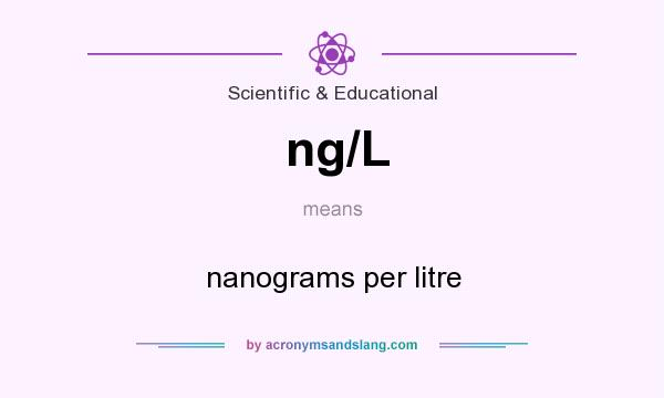 What does ng/L mean? It stands for nanograms per litre