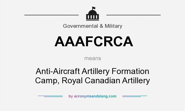 What does AAAFCRCA mean? It stands for Anti-Aircraft Artillery Formation Camp, Royal Canadian Artillery