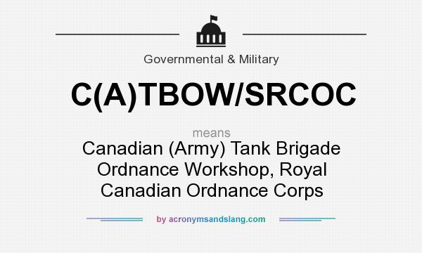 What does C(A)TBOW/SRCOC mean? It stands for Canadian (Army) Tank Brigade Ordnance Workshop, Royal Canadian Ordnance Corps