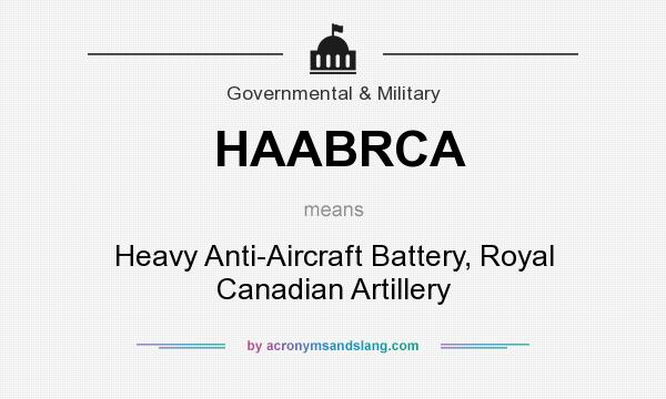 What does HAABRCA mean? It stands for Heavy Anti-Aircraft Battery, Royal Canadian Artillery